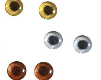 3 Pairs 10mm Metallic Glass Eye Cabochons in Silver Bronze Gold for Jewelry Pendant or Art Doll Making or Taxidermy Sculptures and Crafting