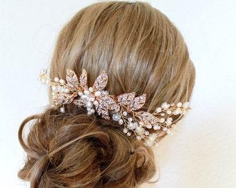 Gold Bridal Headpiece. Bohemian Leaf Vine Pearl Hair Comb. Gold Wedding Hair Wreath. Rhinestone Flower Bridal Headband. SABRINA