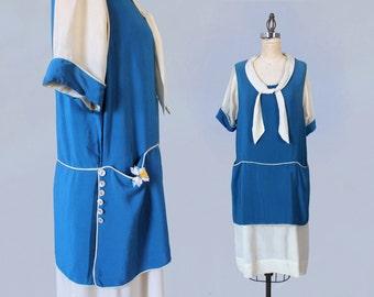 RARE 1920s Dress / 20s Day Dress / Silk Chore Work Dress / Color Block / Two Tone / Pockets!