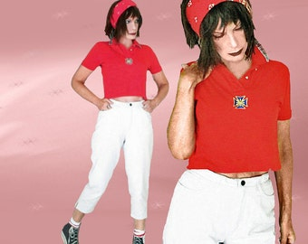 80s Red Polo Upcycled into Crop Top - Vintage OOAK Short Red Polo