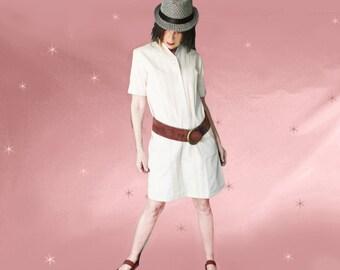 Casual Office Dress, Short Loose Dress, Khaki Shirt Dress, 60s Casual Shift, Shift Shirt Dress, Khaki Day Dress, Summer Loose Dress
