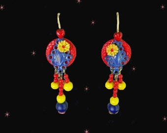 Spring Retro Chandelier Earrings - One of a Kind Handmade - Red Blue Yellow - Retro Dangle Earrings - with Vintage Buttons - Vintage Beads