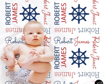 Owl baby blanket boy baby shower gift navy and gray sailboat baby name blanket personalized baby gift nautical blanket boy baby blanket negle Gallery