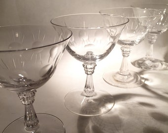 8 Crystal Champagne Coupes
