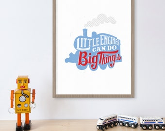 Thomas Train Decor, Blue Train Art, Locomotive, Train Birthday, Thomas The Tank Engine, Little Engines, Boys Room Art, Baby Boy Nursery