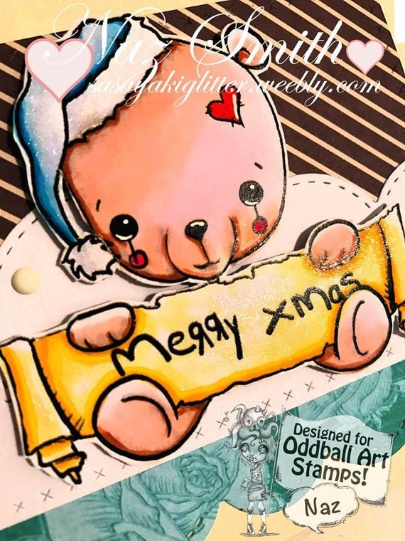 INSTANT DOWNLOAD Sweet Kawaii Christmas Bear  - X-mas Fred  No.352 by Lizzy Love