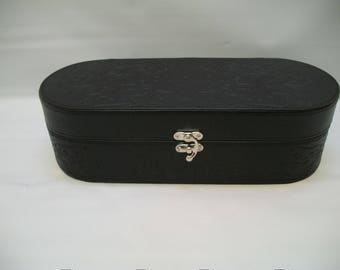 Craft supplies, Box for Crafts, Box to Decorate, Black Vinyl Box to Alter, Supplies for Altered Art, Art Box, Makeup Box