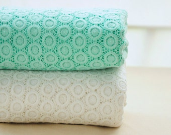 1 meter long 1.25 meter wide ivory/aqua embroidered dress fabric lace cloth clothing 4764 1024 free ship