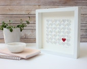 Wedding Gift Song Lyric frame - 3d paper Hearts, Wedding Gift for couple , First Dance Song Lyrics