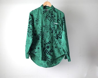 vintage 90s KEITH haring style splatter all over print button down up shirt