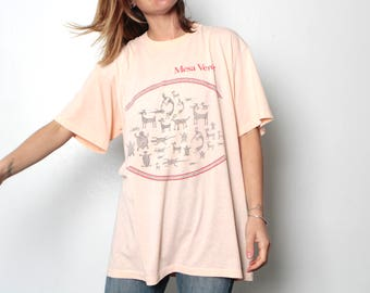vintage 90s MESA VERDE huge oversize soft cotton t-shirt Cliff Dwellings southwest native american top slouchy shirt