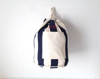 STRIPED oxford simple classic 90s tote bucket bag