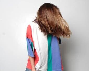 90s striped OXFORD soft SPRING t shirt top huge grunge oversize top