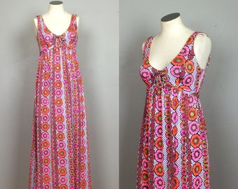 Vintage 1960s 1970s Corset Maxi Dress. 60s 70s Psych Floral Maxi Dress.