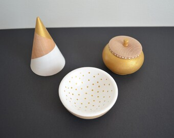 Ring Cone, Trinket Bowl, Jewelry Dish, Jewelry Box, Wooden Box, Set of Three