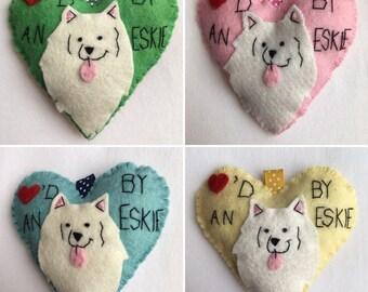 Loved by an Eskie Keychain, Eskie Ornament, American Eskimo, Dog Keychain, Felt Dog, Backpack, Purse, Luggage tag