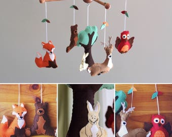 Woodland Baby Mobile, Woodland Nursery Mobile, Camping Nursery, Woodland Mobile, Nursery Mobile, Woodland Animal Mobile, Forest Creatures