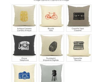 20x20 Personalized Decorative Pillow Case | Custom Color and Fabric | Old Camera, Bike, Phone, Cassette, Typewriter, Thumbprint, Water Tower