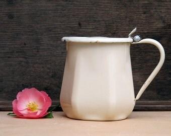 Pretty French Vintage Enamel yellow milk pot, pastel tea pot, enamelware Home Decor,French Country, Rustic French Decor
