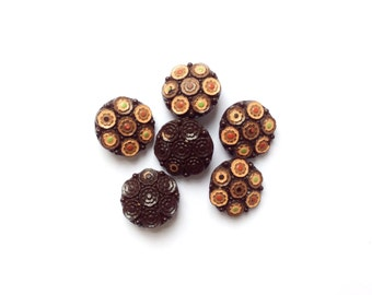 6 Brown Glass Buttons, Flower Vintage Buttons, Flowers