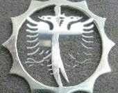 albanian eagle, with a chain 1'' size .sterling silver. Rhodium  plated.
