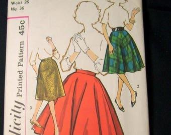 ON SALE Vintage 1960 Simplicity Pattern 4163 Ladies Waist 26 Hip 36 Full Circle Skirt