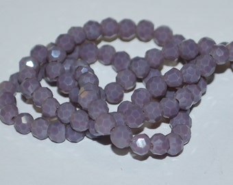 25 pcs 4mm Opaque Plum Periwinkle Round Faceted Glass Beads