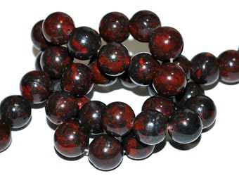 Half Strand 10mm Bloodstone Gemstone Beads - 17 beads