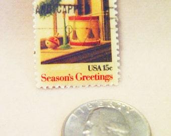 Vintage Stamp Pin Jewelry-U.S.Postage Stamp-Seasons's Greetings