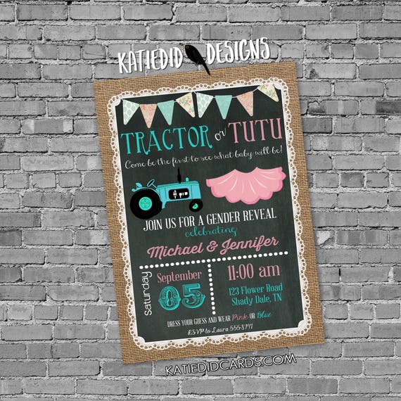 gender reveal invitation tractor or tutu lace country rustic burlap bunting chalkboard gender neutral baby shower item 1475 shabby chic