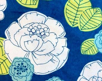 Blue Floral Flannel Swaddle Blanket, Receiving Blanket