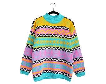 Vintage Crazy Geometric Pattern Light Pink Blue Purple Black & Green Knit Cotton Blend Baggy Sweater - Medium