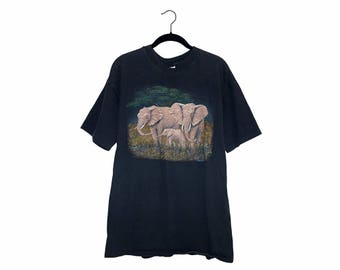 Vintage Elephant Family Herd Illustration Black 100% Cotton Crewneck T-shirt - XL