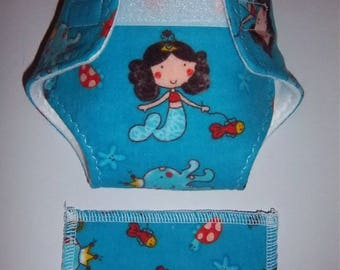 Baby Doll Diaper/wipe - mermaid and underwater treasures on deep turquoise  - adjustable for many dolls such as bitty baby