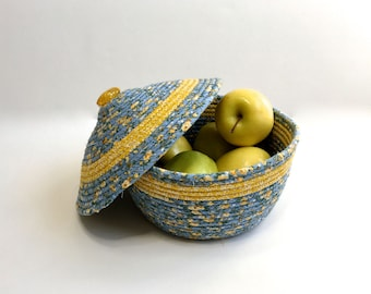 Lidded Coiled Rope Basket- Covered Blue Yellow Bowl - Quilted Fiber Art Organizer Bowl - Fiber Art - Sally Manke Home Decor Storage Basket