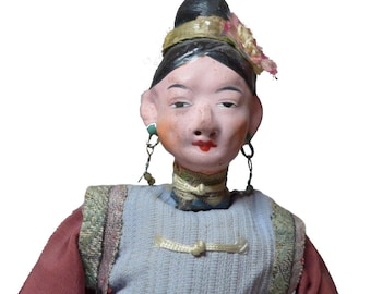 "Antique Mixed Material Chinese Opera 10"" Doll w/ Embellished Dress"