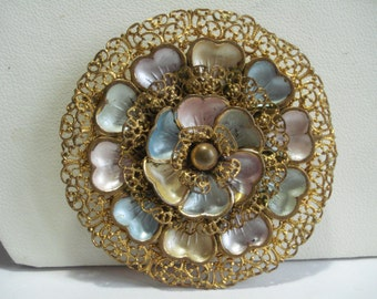 Large Neiger Bros Goldtone Filigree Pastel  Brooch 1930's 1920's