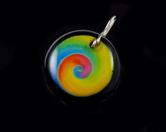 Orgonite® Orgone Energy Generator Swirl Pendant. Tibetan Crystals, Black Tourmaline, Petalite, Phenacite, Shungite, Selenite, Copper (c30)