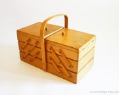 Vintage LARGE Sewing Box / Wooden Storage Box 50s/60s