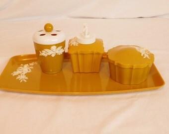 Vintage Schwarz Bros. Plastics Bathroom Vanity Set, Tray, Soap Dispenser, Toothbrush Holder, Powder Holder