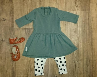 Baby girl dress girl clothes Girl outfit Baby girl dress Hipster kids Clothes Baby dress Baby leggings Green dress polka dot leggings