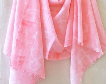 Pink Cotton Scarf, Hand Painted Scarf, Watercolor Scarf, All Cotton Scarf, Beach Scarf, Lightweight, Boho Scarf, Womans Scarf, Natural Fiber