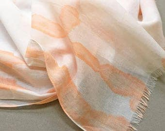 Orange Scarf, Coral Scarf, Shibori Scarf, Coral Cotton Scarf, Hand Painted Scarf, Boho Scarf, Coral and White Scarf, Cotton Shibori, USA