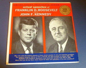 United States Presidents Series Franklin D. Roosevelt And John F. Kennedy Vinyl Record LP USP 1 Library In Sound Records 1962