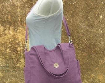 Fathers Day Sale 20% off purple canvas hand bag, canvas messenger bag, diaper bag, tote bag for ladys