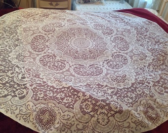 OVAL lace Tablecloth Vintage Lovely floral scroll and medallion designsAwesome drape #22