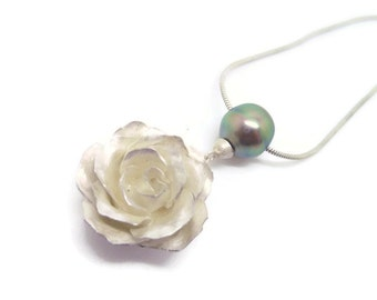 Forged Silver Rose with Tahitian Pearl - pendant necklace jewelry flower peacock pearl gift for her elven