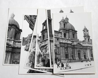 6 Vintage Piazza Novona Rome Italy Photographs - 1948 - Vintage Paper Ephemera, Mixed Media, Altered Art, Travel Journal, Collage Supplies