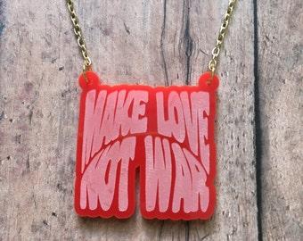 Make love not war necklace