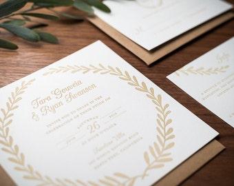 Laurel Wreath Letterpress Wedding Invitation Suite